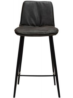 Dan-Form Fierce Counter Barkruk - Zithoogte 65 cm - Set van 2 - Grijs Kunstleer