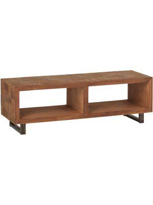 24Designs Reverie Open TV-meubel - B120 x D36 x H40 cm - Teakhout - Vintage Metaal