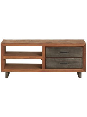 24Designs Reverie TV-meubel - B120 x D36 x H50 cm - Teakhout - Vintage Metaal