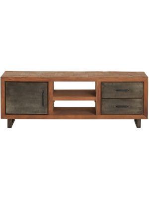 24Designs Reverie TV-meubel - B140 x D36 x H50 cm - Teakhout - Vintage Metaal