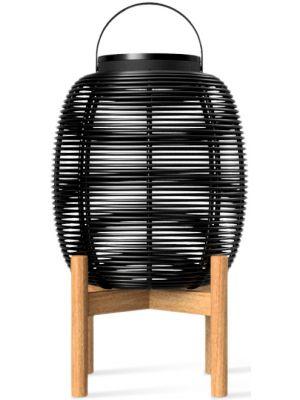 Vincent Sheppard Tika - Wicker Solar LED Lantaarn - Hoogte 59 cm - Zwart