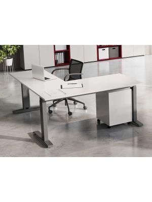24Designs Style Verstelbaar Hoekbureau - L160 x B80 cm - Lichtgrijs