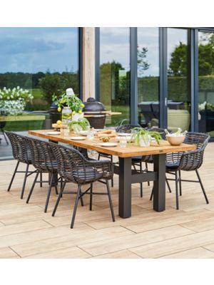 Hartman Cecilia Yasmani Tuinset - Yasmani Tuintafel 240 cm + 6 Zwarte Cecilia stoelen