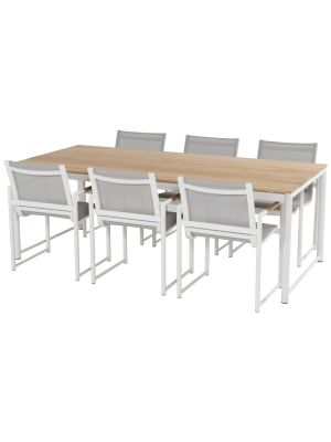 Hartman Fontaine Dining tuinset wit – 6 Fontaine Dining Stoelen + Fontaine Tafel Teakhout