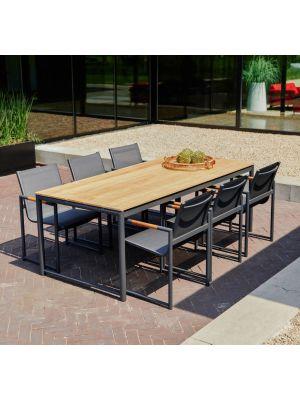 Hartman Fontaine Dining Set - Complete Tuinset Tafel + 6 stoelen - Charcoal Zwart
