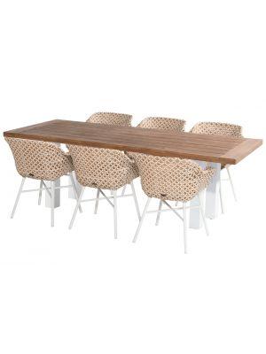 Hartman Delphine Honey / Yasmani Tuinset - 6 stoelen + Teak Tuintafel 240 cm