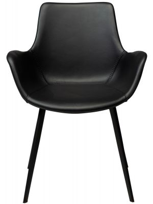 Dan-Form Hype Eetkamerstoel Armleuning – Set van 2 – Zwart Kunstleer – Zwart Metalen Poten