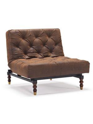 Innovation Oldschool Fauteuil - Leatherlook Vintage Brown 461 - Retro Onderstel