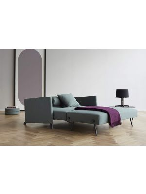 Innovation Cubed 140 Slaapbank Armleuning - Elegance Green 518 - Zwart Metalen Poten