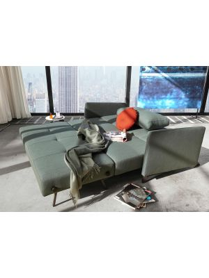 Innovation Cubed 160 Slaapbank Armleuning - Elegance Green 518 - Zwart Metalen Poten