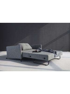 Innovation Cubed 160 Slaapbank Armleuning - Twist Granite 565 - Zwart Metalen Poten