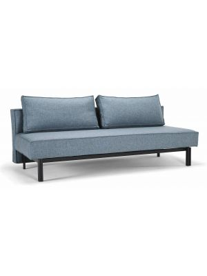 Innovation Slaapbank Sly - Mixed Dance Light Blue 525 - Mat Zwart Onderstel