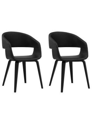 24Designs Nola Stoel - Set van 2 - Zwart Kunstleer - Berken Zwarte Poten