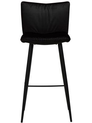 Dan-Form Join Barkruk - Set van 2 - Zithoogte 77 cm - Zwart Fluweel