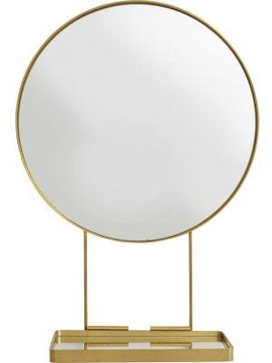 Kare Design Art Tafelspiegel Rond Met Onderstel - Diameter 60 cm - Goudkleurig