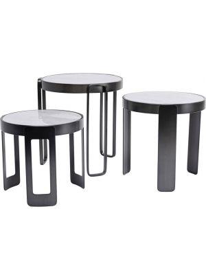 Kare Design Perelli Black Bijzettafel - Set van 3 - Glas en Metaal