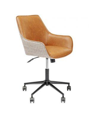 Kare Design Monica Bureaustoel - Cognac Kunstleer en Stof