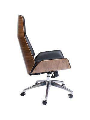 Kare Design Rouven Bureaustoel - Kunstleer Zwart - Chromen Kruispoot