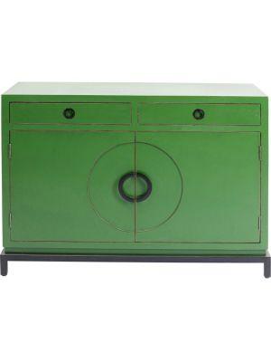 Kare Design Disk Dressoir 2-Deurs - B120 x D50 x H85 cm - Groen - Zwart Metalen Onderstel