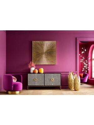 Kare Design Electro Dressoir - B160 x D40 x H80 cm - Zwart Mangohout - Messing Poten