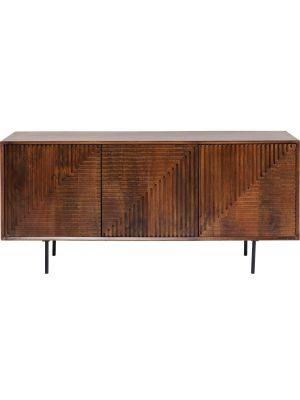 Kare Design Grooves Dressoir - B164 x D40 x H79 cm - Bruin Mangohout - Metalen Poten