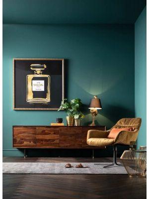 Kare Design Ravello Dressoir - B200 x D45 x H68 cm - Sheeshamhout - Zwarte Metalen Poten