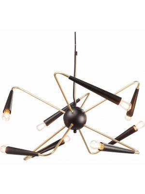 Kare Design Hanglamp Harlekin - 8 Lichts - Zwart/Messing