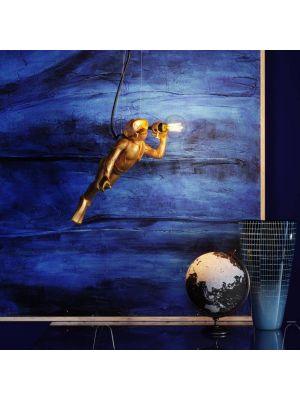 Kare Design Monkey Diver 1-Lichts Hanglamp - B45 x D18 x H22 cm - Goudkleurig