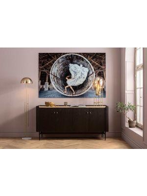 Kare Design Milano Dressoir - B180x D55 x H85 cm - Zwart/Donkerbruin Eikenhout
