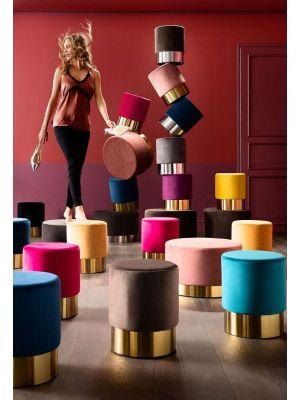 Kare Design Poef Cherry - Ø35x42 - Paars Fluweel - Messing