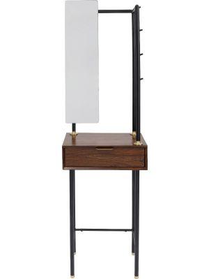 Kare Design Ravello Garderobemeubel Met Spiegel - Sheeshamhout Met Zwart Metalen Poten