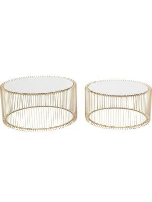 Kare Design - Wire Salontafel - Set van 2 - Messing met Glazen Tafelblad