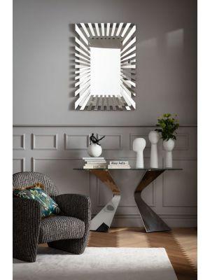 Kare Design Gloria Sidetable - 140 x 45 x 82 cm - Glazen Tafelblad - Chromen Metalen Poten