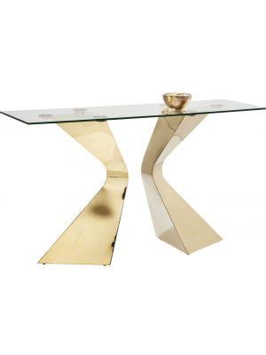 Kare Design Gloria Sidetable - 140 x 45 x 82 cm - Glazen Tafelblad - Goudkleurige Metalen Poten