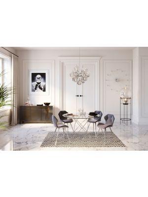 Kare Design Viva Velvet Stoel - Set van 2 - Grijs Fluweel - Chromen Poten