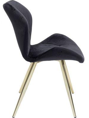 Kare Design Viva Velvet Stoel - Set van 2 - Zwart Fluweel - Goudkleurige Metalen poten