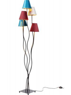 Kare Design Flexible Cinque Vloerlamp 5-lichts - Fluwelen Lampenkappen - Zwart Metaal