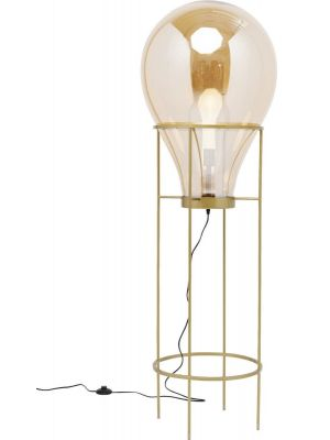 Kare Design Pear Frame Vloerlamp 1-Lichts - Hoogte 158 cm - Gekleurd Glas - Goudkleurig Frame