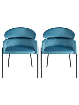Kare Design Alexia Velvet Stoel - Set van 2 - Blauw Fluweel
