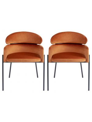 Kare Design Alexia Velvet Stoel - Set van 2 - Oranje Fluweel