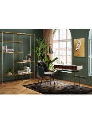 Kare Design Hojas Velvet Stoel - Set van 2 - Grijs/Groen Fluweel