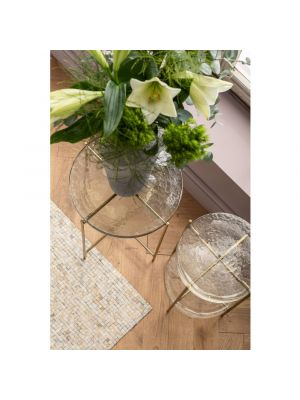 Kare Design Ice Double Bijzettafel - Ø30 cm - Glas/Metaal