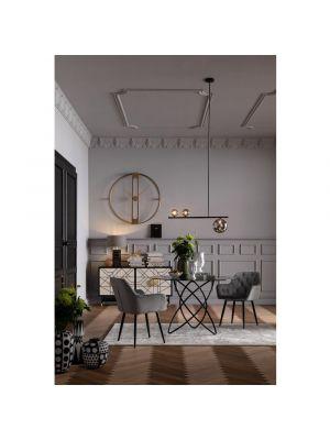 Kare Design Kira Velvet Stoel - Set van 2 - Grijs Fluweel