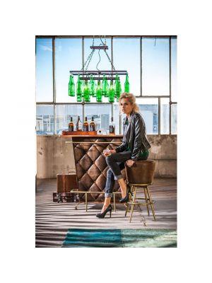 Kare Design Lady Rock Vintage Bartafel - B120 x D48 x H104 cm - Bruin Kunstleer