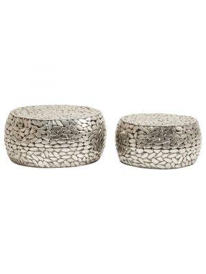 Kare Design Pebbles Deluxe Salontafel - Set van 2 - Zilver
