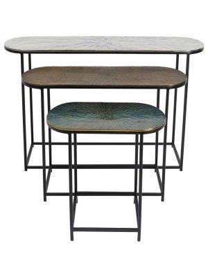 Kare Design Ray Oval Bijzettafel - Set van 3 - Aluminium/Metaal