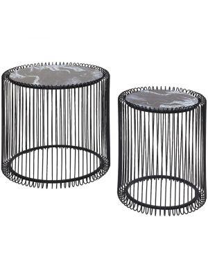 Kare Design Wire Hoge Bijzettafel - Set van 2 - Zwarte Marmerlook