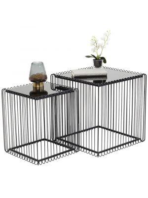 Kare Design Wire Bijzettafel Vierkant - Set van 2 - Zwart
