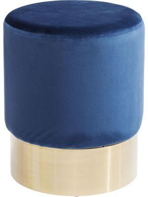 Kare Design Poef Cherry - Ø35x42 - Blauw Fluweel - Messing