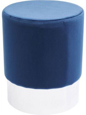Kare Design Poef Cherry - Ø35x42 - Blauw Fluweel - Zilver